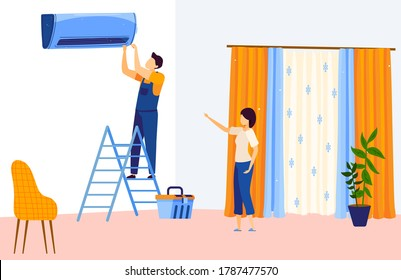 Repair air conditioner flat vector illustration. Cartoon repairman technician character working, repairing household air smart cooling system, AC home fixing, house conditioning service background