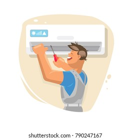 Repair of air conditioners. Maintenance and installation of cooling systems. Warranty repair and cleaning and replacement of filters. Professional Air Conditioner Repair Vector. Man Electrician