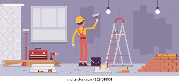 Repair of apartments and worker painting walls. Man provides professional services for construction of cottage, house, office, restore home to good condition, internal decoration. Vector illustration