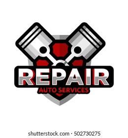 Repair auto service logo icon emblem Badge vector.