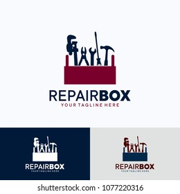 Repair Box Logo Template Design. Creative Vector Emblem, for Icon or Design Concept.