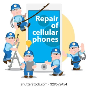 Repair of cellular phones, problem diagnosis concept