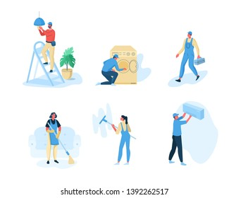 Repair and cleaning service workers.  Flat style modern vector illustration.