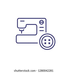 Repair of clothes line icon. Sewing machine, button, parlor. Clothes concept. Can be used for topics like clothing repair shop, service, atelier