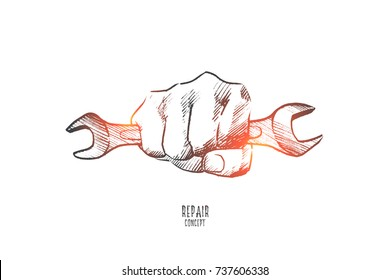 Repair concept. Hand drawn hand with wrench. Repair service isolated vector illustration.