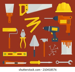 Repair / Construction / Renovation flat icons with tools