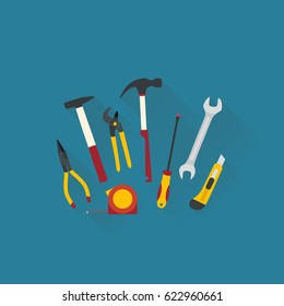 Repair and construction tools. Flat design vector illustration.