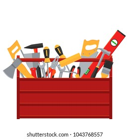 Repair and construction tools vector concept. Illustration of toolbox for construction, screwdriver and wrench