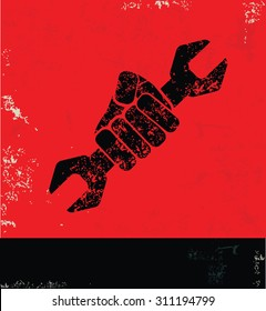 Repair design on red background, grunge vector