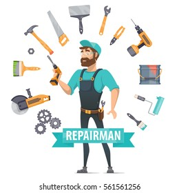Repair elements round template with construction tools instruments and foreman in centre isolated vector illustration