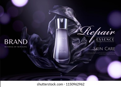 Repair essence with dark purple satin element on glittering background in 3d illustration