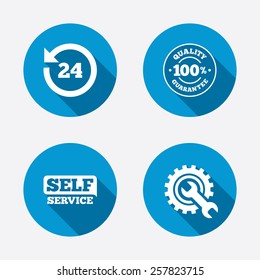 Repair fix tool icons. 24h Customer support service signs. 100% quality guarantee symbol. Cogwheel gear with wrench key. Circle concept web buttons. Vector