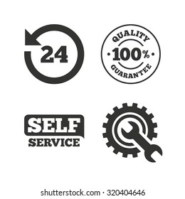 Repair fix tool icons. 24h Customer support service signs. 100% quality guarantee symbol. Cogwheel gear with wrench key. Flat icons on white. Vector