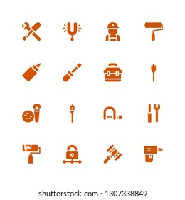 repair icon set. Collection of 16 filled repair icons included Drill, Hammer, Padlock, Roller, Tools, Hacksaw, Auger, Toolbox, Screwdriver, Glue, Paint roller, Electrician, Tuning