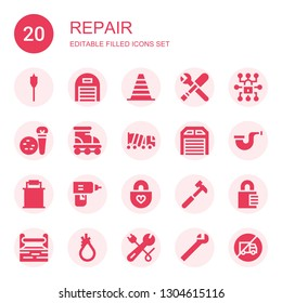 repair icon set. Collection of 20 filled repair icons included Auger, Garage, Cone, Tools, Padlock, Roller, Concrete, Pipe, Paint bucket, Drill, Hammer, Toolbox, Tool, Wrench