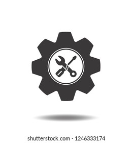 Repair icon vector or technicians,services flat sign symbols logo with screwdriver,wrench and gear,cogwheels illustration isolated on white background black color.Concept setting for app mobile phone.