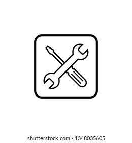 Repair icon. Wrench and screwdriver icon. Settings icon isolated