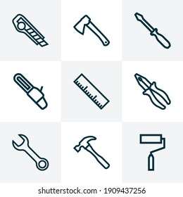 Repair icons line style set with roller brush, hammer, wrench and other clamp elements. Isolated vector illustration repair icons.