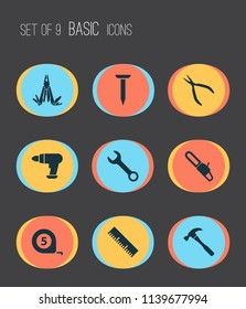 Repair icons set with wrench, chainsaw, nail and other spanner elements. Isolated vector illustration repair icons.