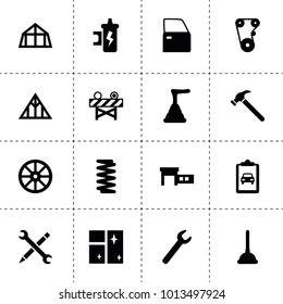 Repair icons. vector collection filled repair icons. includes symbols such as whell, wrench, timing belt, spring, car door, spark coil. use for web, mobile and ui design.
