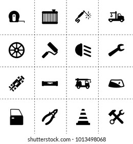 Repair icons. vector collection filled repair icons. includes symbols such as whell, wrench hammer, car door, window repair, tow truck. use for web, mobile and ui design.