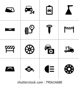 Repair icons. vector collection filled repair icons. includes symbols such as whell, bearing, window repair, tow truck, car jack. use for web, mobile and ui design.