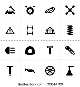 Repair icons. vector collection filled repair icons. includes symbols such as whell, wheel balance, car chassis, spring, wheel wrench. use for web, mobile and ui design.
