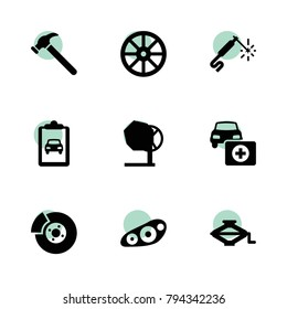 Repair icons. vector collection filled repair icons set.. includes symbols such as whell, car jack, car first aid kit, break, hammer. use for web, mobile and ui design.