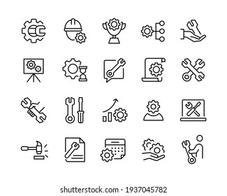 Repair Icons - Vector Line Icons. Editable Stroke. Vector Graphic