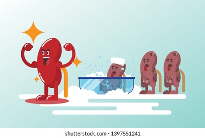 Repair kidneys by cleanup concept for good healthy. Flat design style.