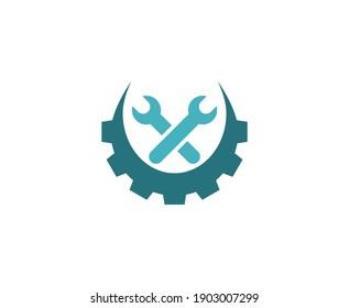 Repair logo wrench service vector icon