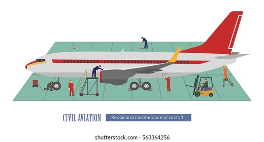Repair and maintenance of aircraft. Airplane and working in the hangar. Vector illustration.
