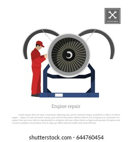 Repair and maintenance of aircraft. Engineer inspects the engine of the airplane. Industrial drawing in a flat style. Vector illustration