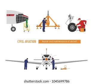Repair and maintenance of aircraft. Engineers repairing airplane. Industrial drawing. Plane hangar. Vector illustration