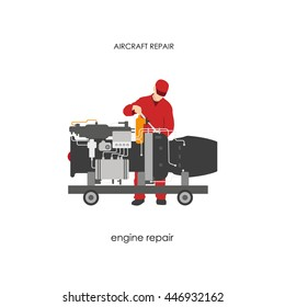 Repair and maintenance aircraft. Mechanic in overalls repairing airplane engine. Vector illustration