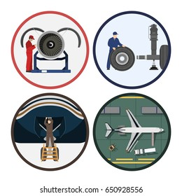 Repair and maintenance of aircraft. Service of airplane. Industrial drawing in a flat style. Vector illustration