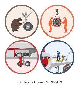 Repair and maintenance of aircraft . Set of aircraft parts in flat style on white background. Images in circles. Vector illustration
