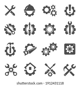 Repair, maintenance bold black silhouette icons set isolated on white. Renovations, home improvements pictograms, logo. Gears, hammer, hardhat, screwdriver, wrench vector element for infographic, web.