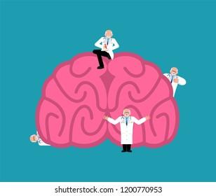 Repair and maintenance brain. miniature Doctor and brains. Medical service. repairs team is repairing cerebrum