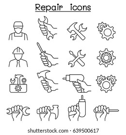 Repair, Maintenance, Service, Support icon set in thin line style