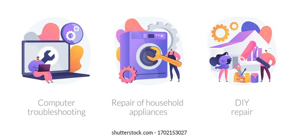 Repair and maintenance services abstract concept vector illustration set. Computer troubleshooting, DIY repair of household appliances, warranty, video tutorial, problem fix abstract metaphor.