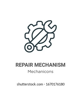 Repair mechanism outline vector icon. Thin line black repair mechanism icon, flat vector simple element illustration from editable mechanicons concept isolated stroke on white background