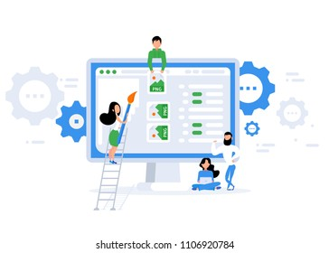 Repair of the page. Error 404 page. Flat vector illustration in cartoon style.  Trendy flat style. Vector illustration.