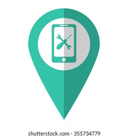 repair phone - vector icon;  green map pointer