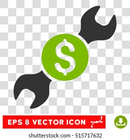 Repair Price EPS vector pictogram. Illustration style is flat iconic bicolor eco green and gray symbol.