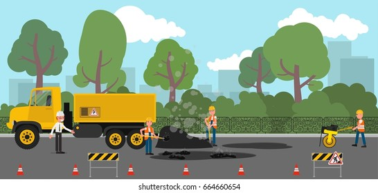 Repair of road surface. Vector illustration, a flat style design