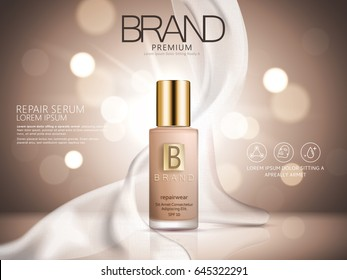 repair serum ad, brown bokeh background with soft white chiffon, 3d illustration