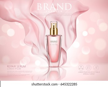 repair serum ad, pink bokeh background with soft pink chiffon, 3d illustration