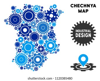 Repair Service Chechnya map collage of gears. Abstract geographic plan in blue color hues. Vector Chechnya map is organized of gears. Concept of industrial work.