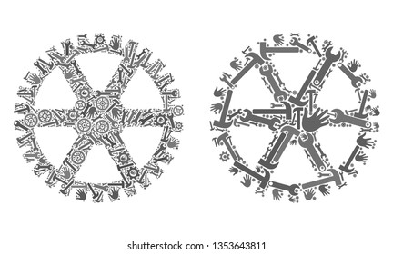 Repair service clock gearwheel icon collage of service tools. Abstract vector clock gearwheel symbol is constructed from gears, hands, hammers and wrenches. Concept of tuning job.